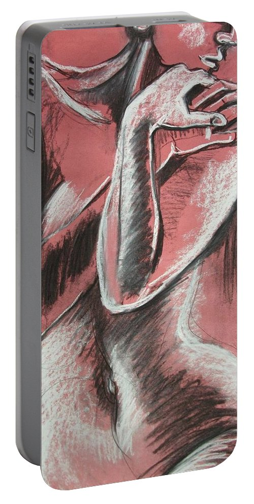 Original Portable Battery Charger featuring the painting Elegant Pink - Nudes Gallery by Carmen Tyrrell