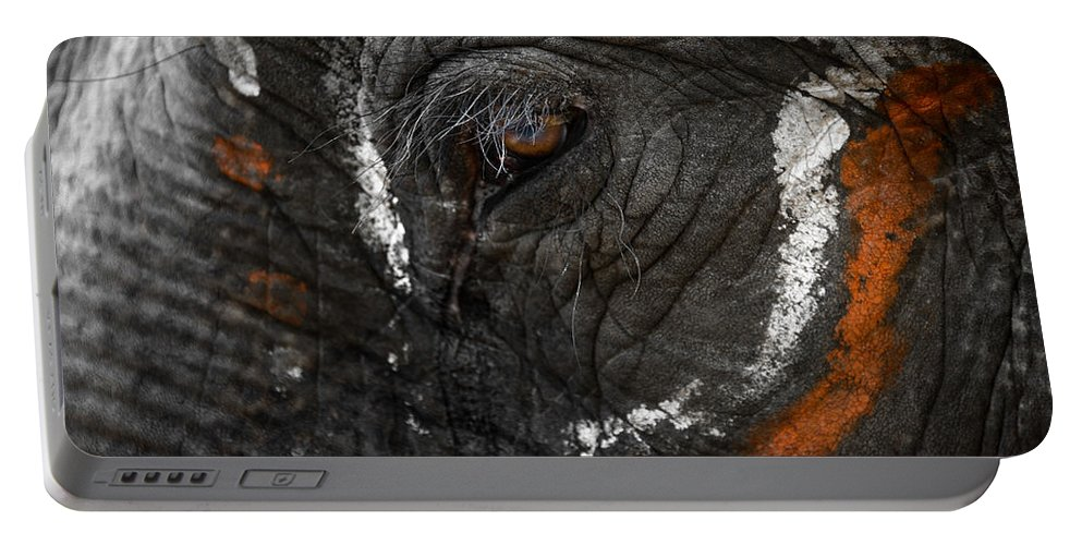 Elephant Portable Battery Charger featuring the photograph Elephant Eye by Dutourdumonde Photography