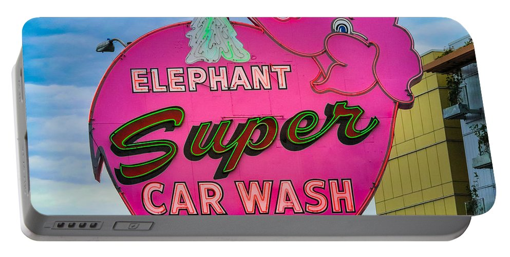 America Portable Battery Charger featuring the photograph Elephant Super Car Wash by Inge Johnsson