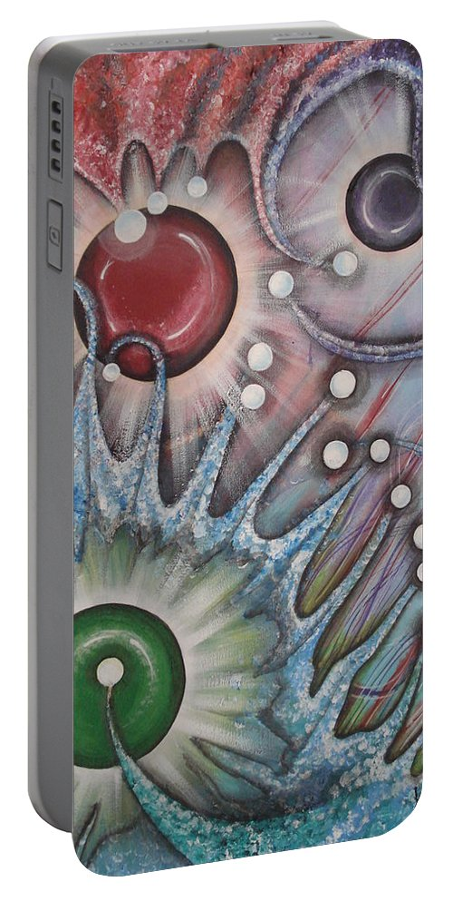 Abstract Portable Battery Charger featuring the painting Eleventh Dimension by Krystyna Spink