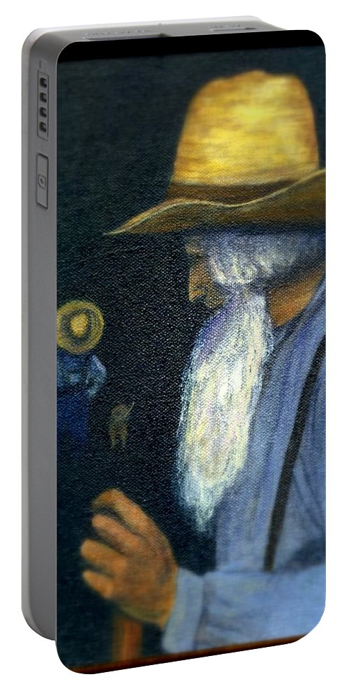 Men Portable Battery Charger featuring the painting Eli Remembers by Gail Kirtz