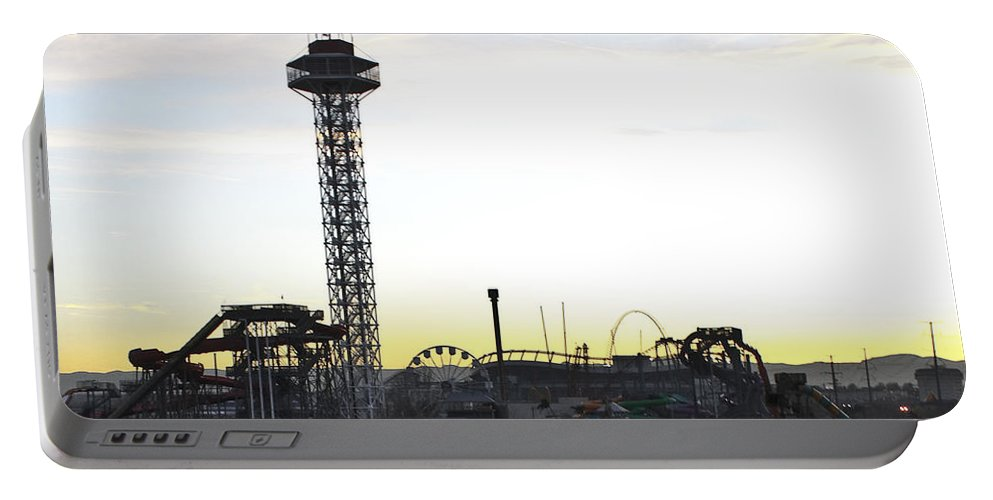 Elitch Gardens Portable Battery Charger featuring the photograph Elitch Gardens Night 2 by Angus Hooper Iii