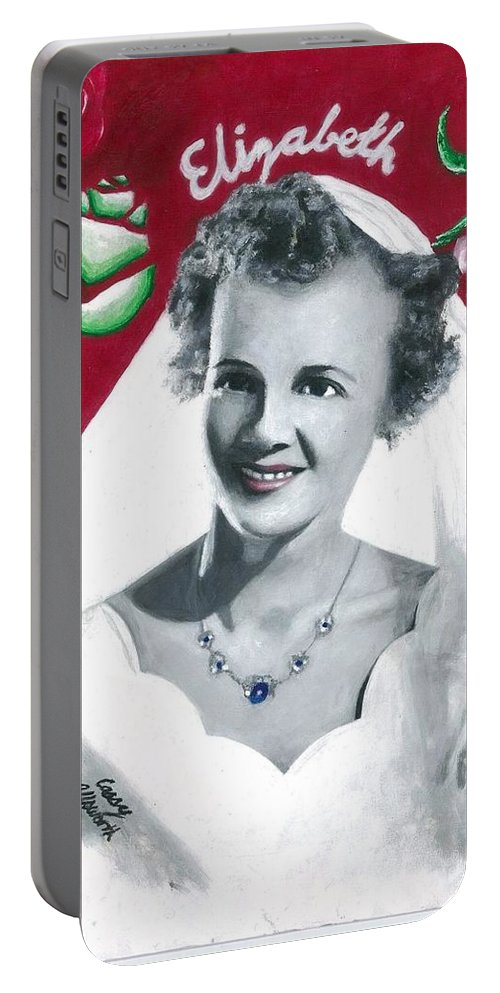 Acrylic Portraits Portable Battery Charger featuring the painting Elizabeth by Cassy Allsworth