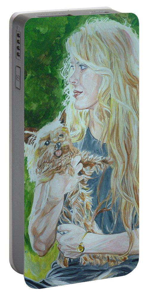 Ccm Portable Battery Charger featuring the painting Elizabeth South And Ginger by Bryan Bustard