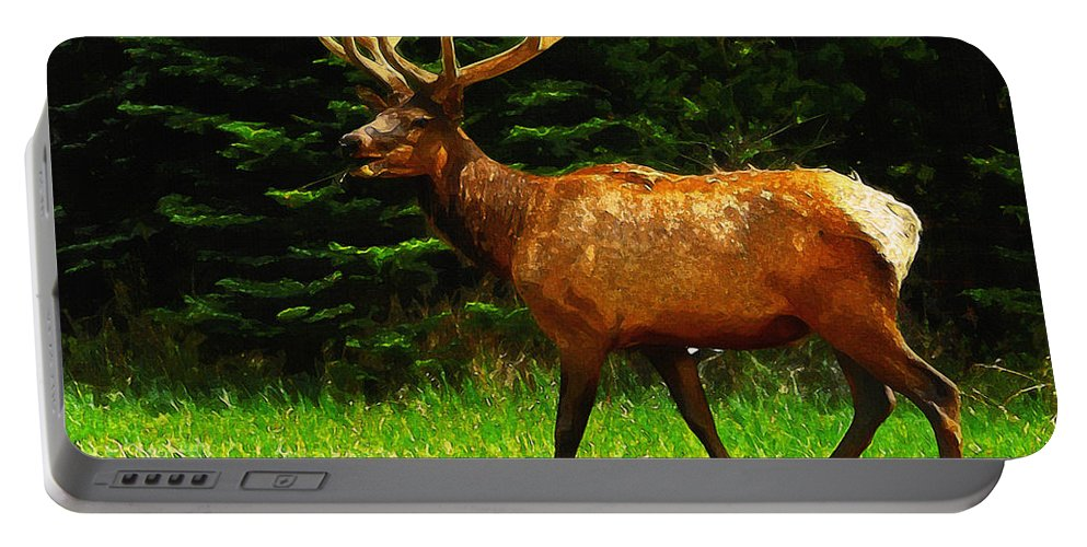Elk Portable Battery Charger featuring the painting Elk Portrait by Inspirowl Design