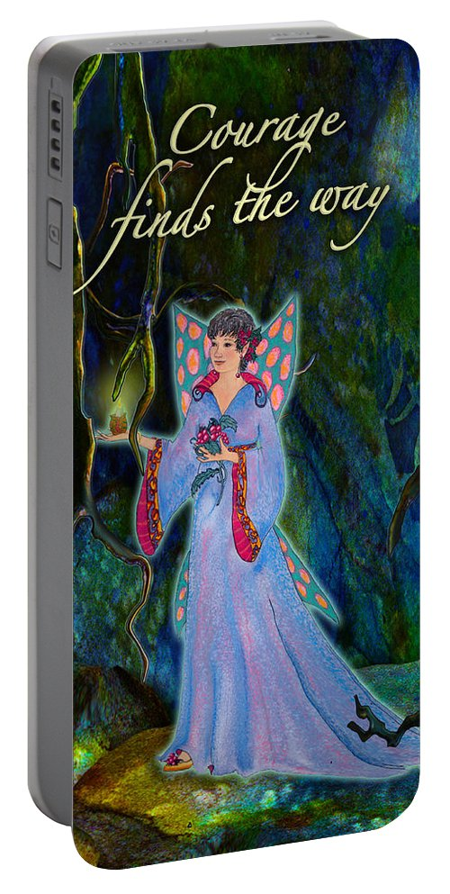 Fairy Portable Battery Charger featuring the painting Ella Rose-courage Lights The Way by Teresa Ascone