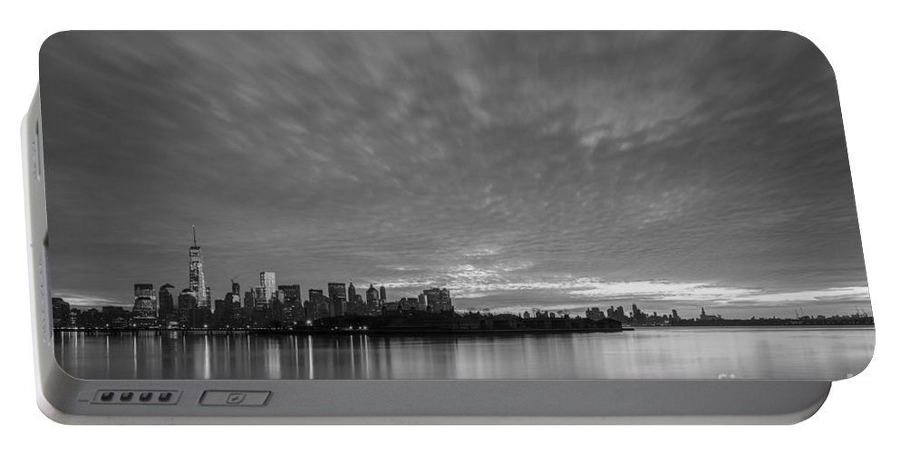 Lower Manhattan Portable Battery Charger featuring the photograph Ellis Island And Manhattan Sunrise Bw by Michael Ver Sprill