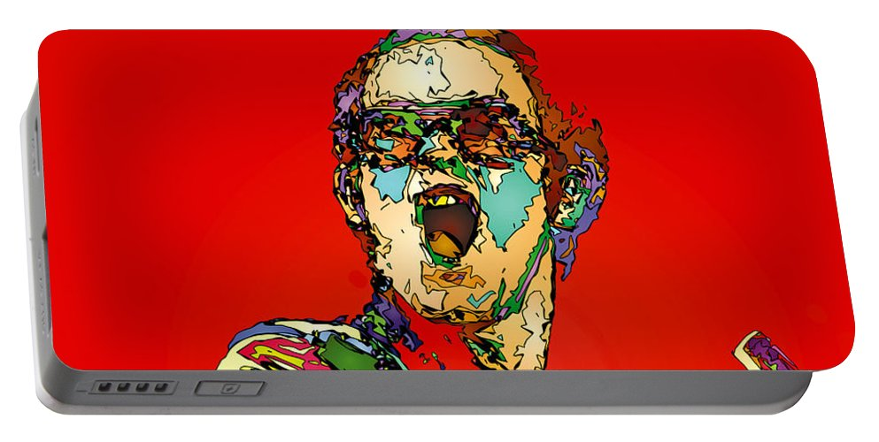 Elton John Portable Battery Charger featuring the painting Elton in Red by John Farr