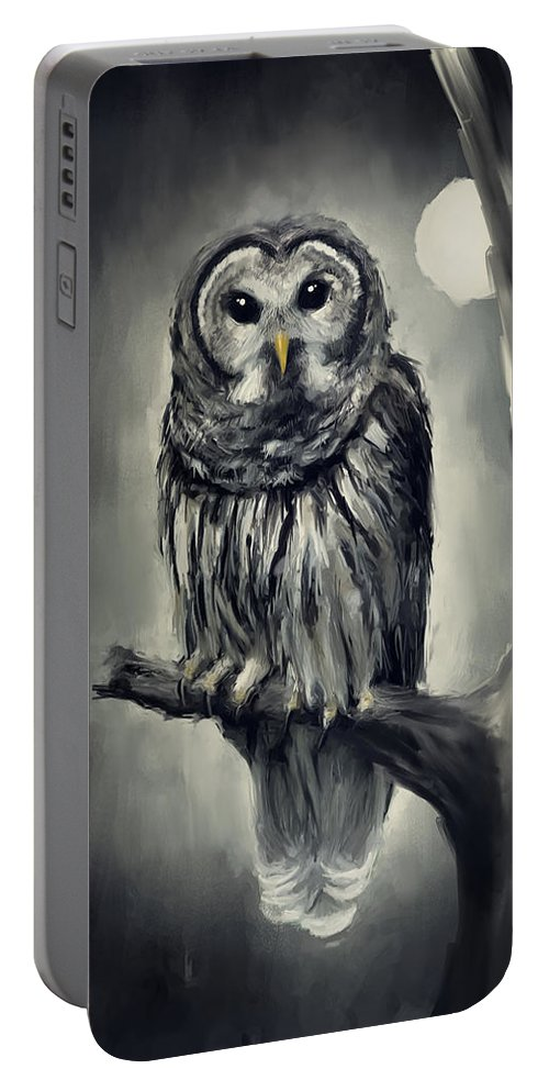 Owl Portable Battery Charger featuring the photograph Elusive Owl by Lourry Legarde