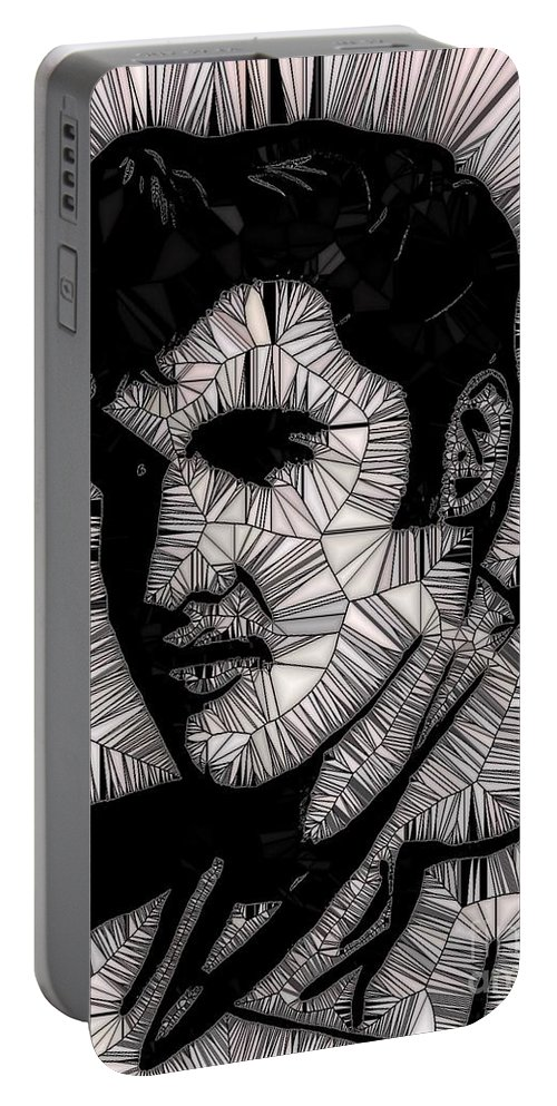 Elvis In Black And White Portable Battery Charger featuring the painting Elvis In Black And White by Saundra Myles