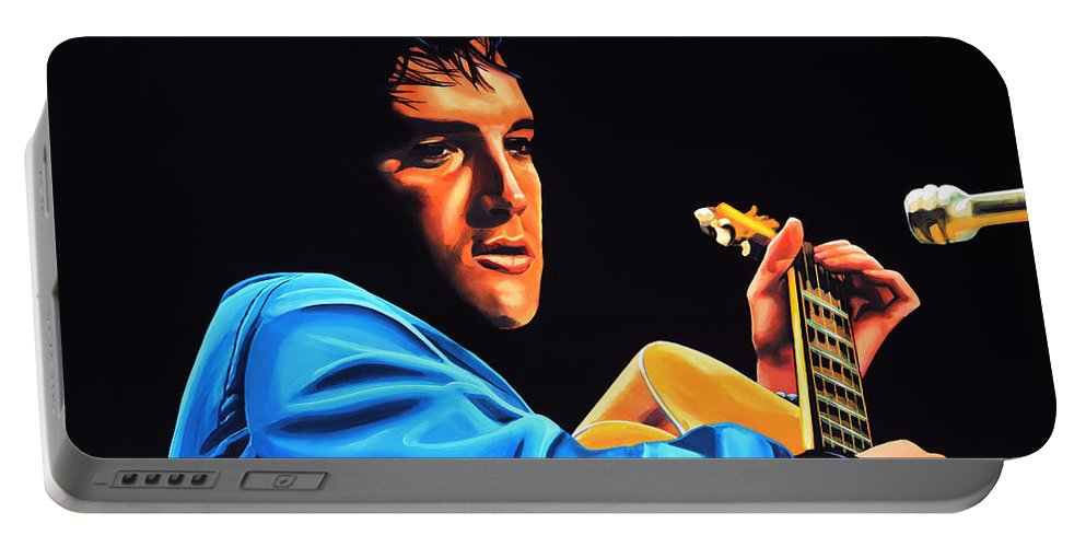 Elvis Portable Battery Charger featuring the painting Elvis Presley 2 Painting by Paul Meijering