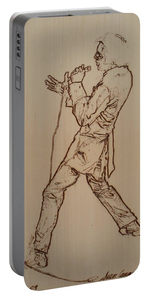 Pyrography Portable Battery Charger featuring the pyrography Elvis Presley - If I Can Dream by Sean Connolly