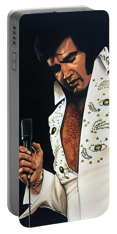 Elvis Portable Battery Charger featuring the painting Elvis Presley Painting by Paul Meijering