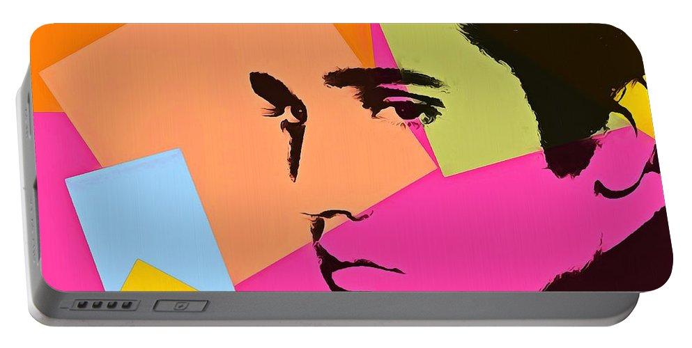 Elvis Presley Pop Art Portable Battery Charger featuring the digital art Elvis Presley Pop Art by Dan Sproul