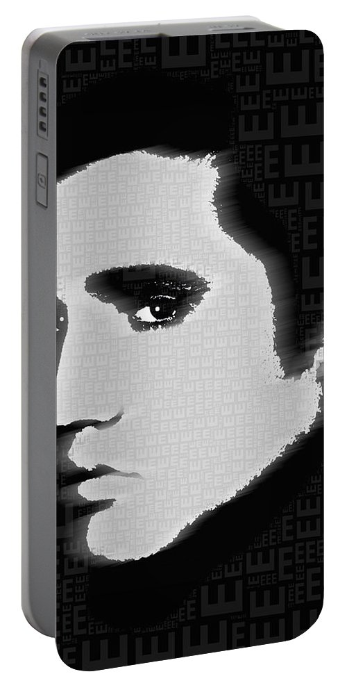 Elvis Presley Portable Battery Charger featuring the painting Elvis Presley Silhouette On Black by Tony Rubino