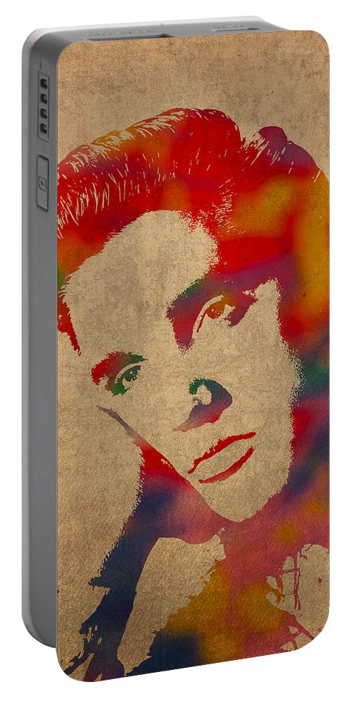 Elvis Presley Watercolor Portrait On Worn Distressed Canvas Portable Battery Charger featuring the mixed media Elvis Presley Watercolor Portrait On Worn Distressed Canvas by Design Turnpike