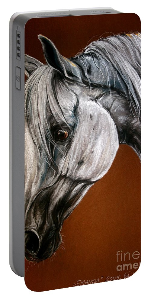 Arabian Portable Battery Charger featuring the drawing Emanda by Angel Ciesniarska