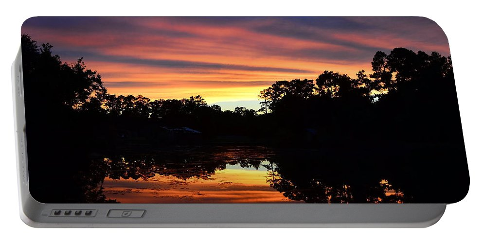 Sunset Portable Battery Charger featuring the photograph Embers Of The Day by Charlotte Schafer