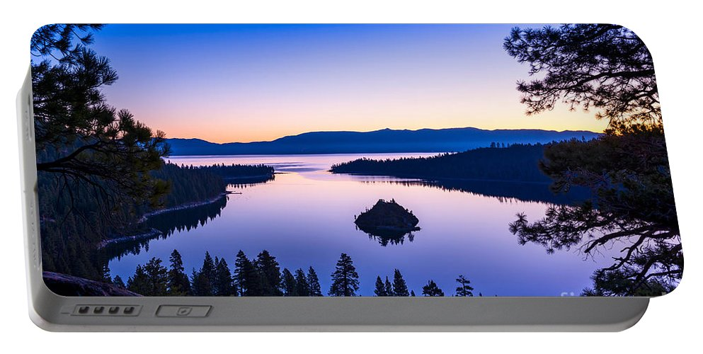 Lake Tahoe Portable Battery Charger featuring the photograph Emerald Bay Sunrise by Jamie Pham