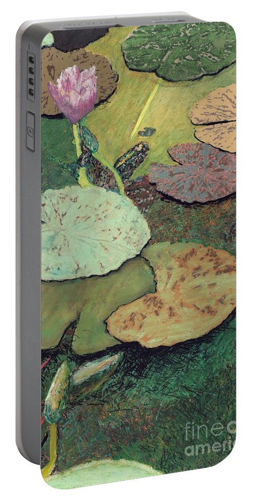 Landscape Portable Battery Charger featuring the painting Emerald Pond by Allan P Friedlander