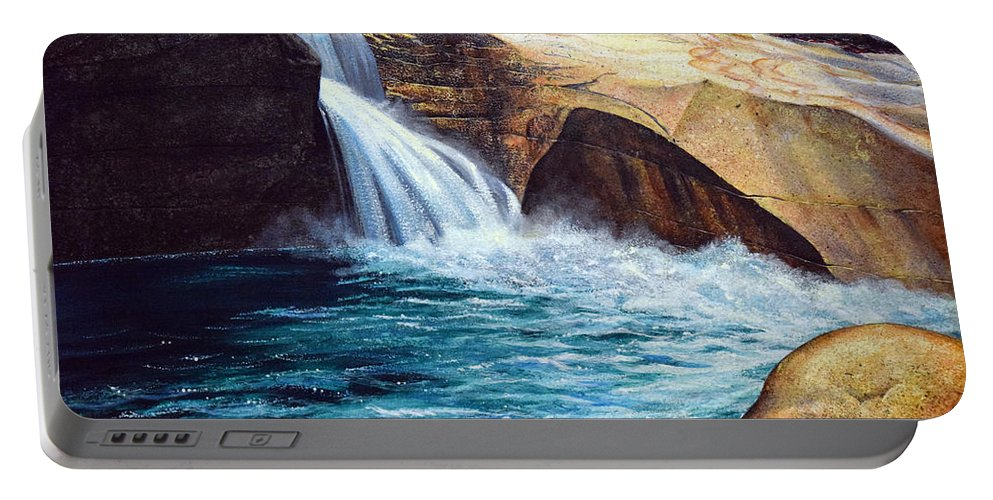 Emerald Pool Portable Battery Charger featuring the painting Emerald Pool by Frank Wilson