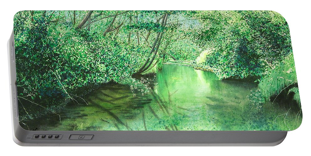 Landscape Portable Battery Charger featuring the painting Emerald Stream by Lynn Quinn
