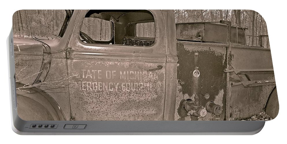 Firetruck Portable Battery Charger featuring the photograph Emergency Truck by Randy J Heath