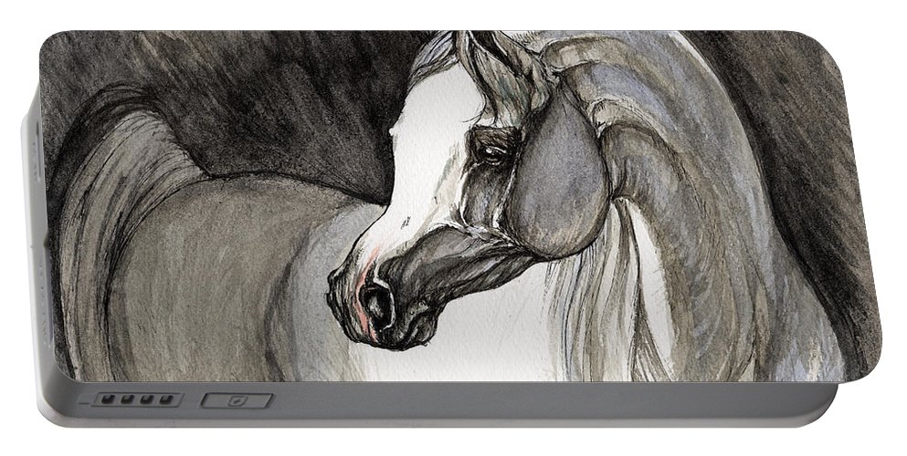 Grey Horse Portable Battery Charger featuring the painting Emerging From The Darkness by Angel Ciesniarska