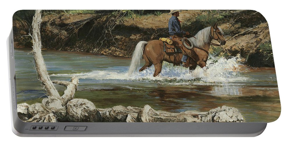 Don Langeneckert Portable Battery Charger featuring the painting Palomino Crossing Big Creek by Don Langeneckert