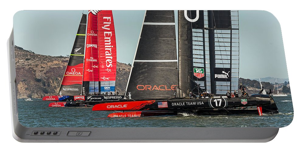 America's Cup Portable Battery Charger featuring the photograph Emirates And Oracle by Kate Brown