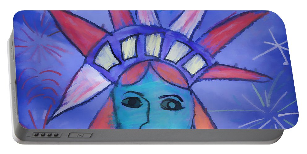 Liberty Drawing Lady Emma Joyal Child Artist Portable Battery Charger featuring the digital art Emma's Lady Liberty by Alice Gipson