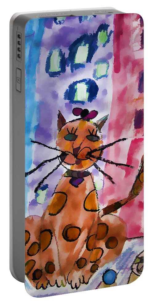 Cat Drawing Child Artist Emma Joyal Portable Battery Charger featuring the digital art Emma's Spotted Kitty by Alice Gipson