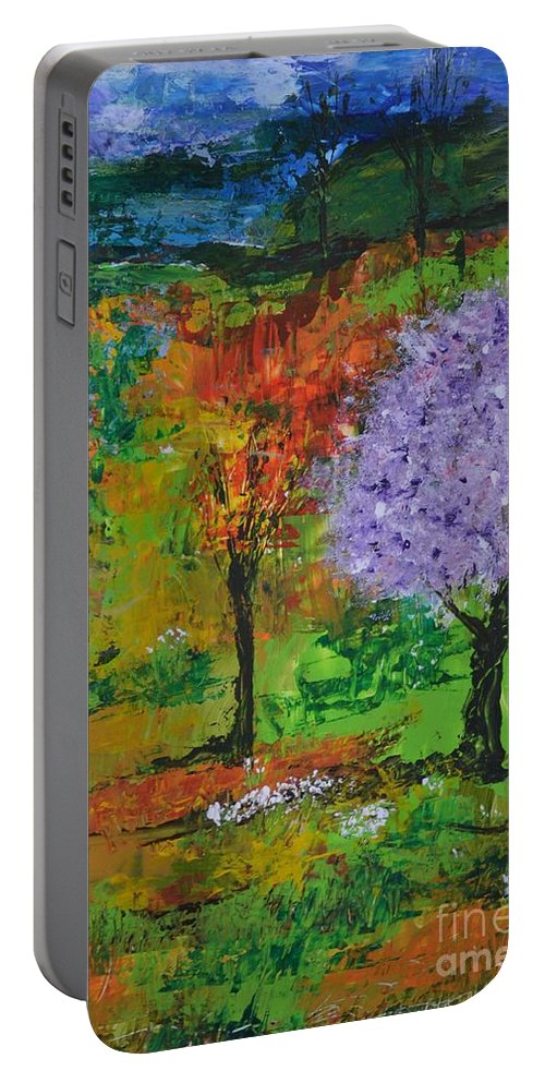 Landscape Portable Battery Charger featuring the painting Emmet's Garden by Om Art Studio Dean Walther