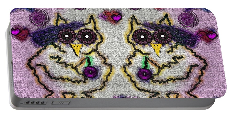 Animal Portable Battery Charger featuring the mixed media Emo Owls by Pepita Selles