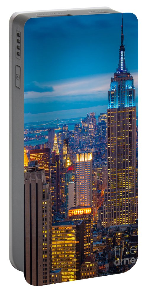 America Portable Battery Charger featuring the photograph Empire State Blue Night by Inge Johnsson
