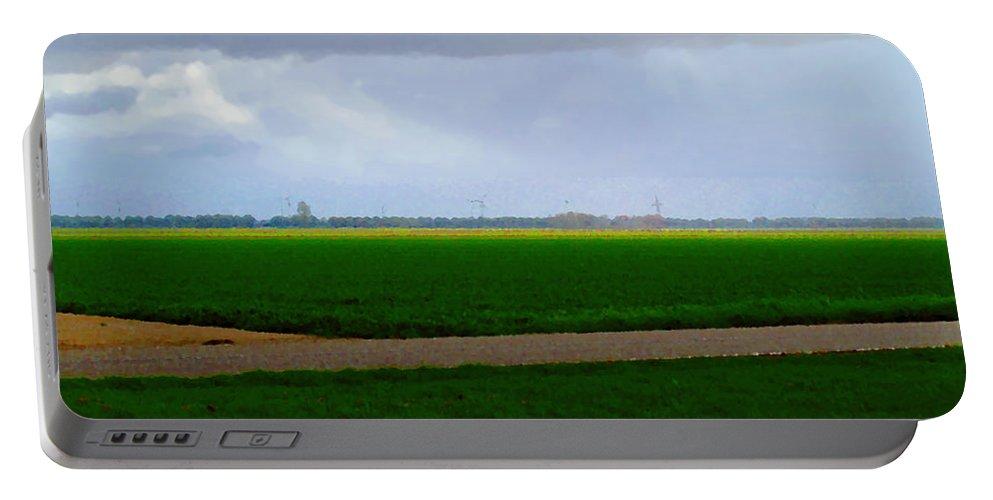 Digital Art Portable Battery Charger featuring the digital art Empty Green by Luc Van de Steeg