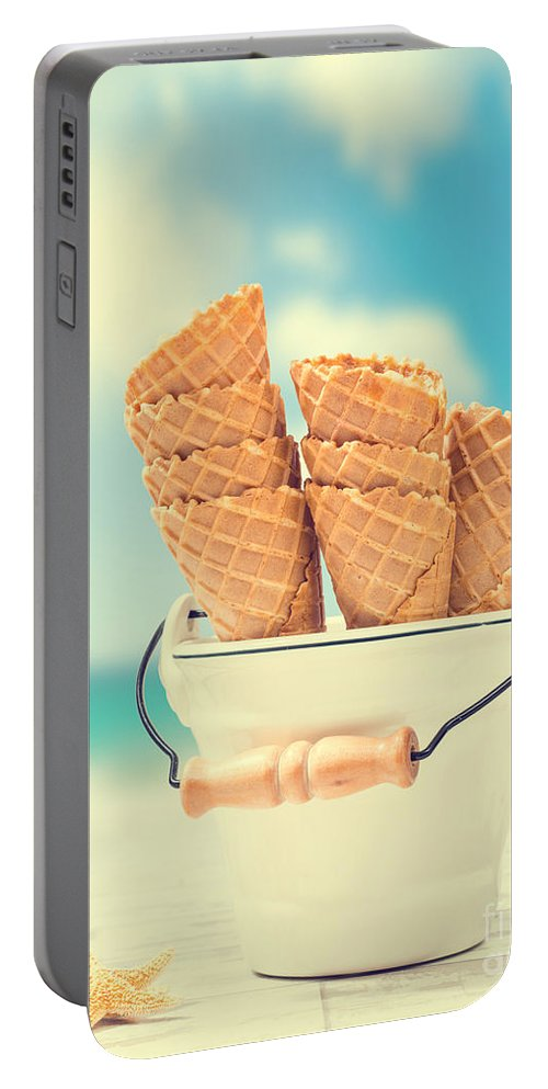 Icecream Portable Battery Charger featuring the photograph Empty Ice Cream Cones by Amanda Elwell