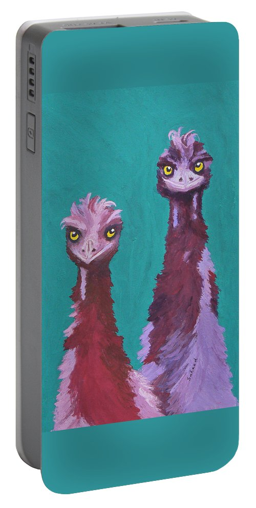 Emu Portable Battery Charger featuring the painting Emu Watch by Margaret Saheed