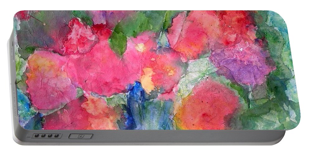 Flowers Portable Battery Charger featuring the painting Enamored by Laura Nance