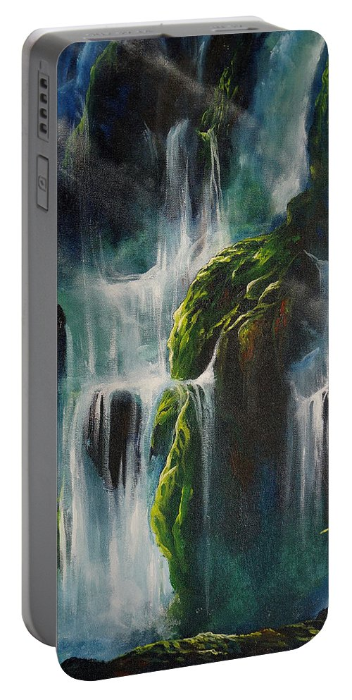 Waterfalls Portable Battery Charger featuring the painting Enchanted by Marco Antonio Aguilar