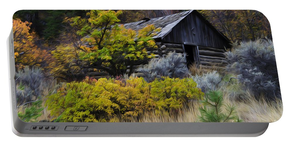 Cabin Portable Battery Charger featuring the photograph Enchanted Spaces Cabin In The Woods 2 by Bob Christopher
