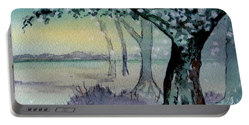 Landscape Portable Battery Charger featuring the painting Enchanted Tree by Brenda Owen