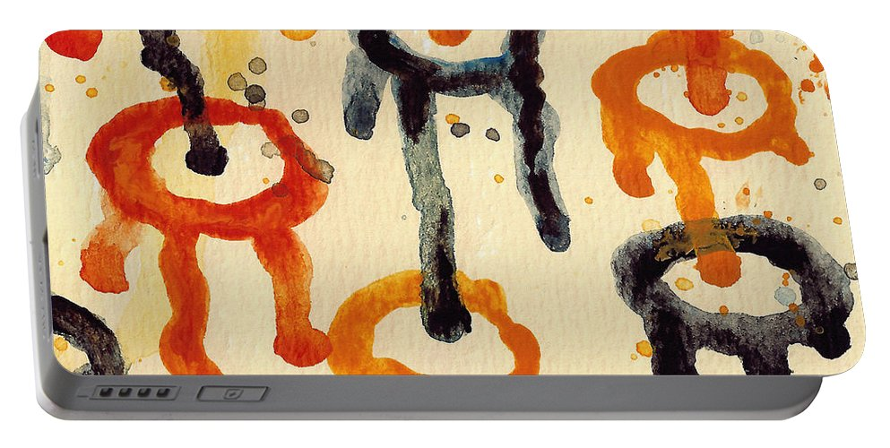 Abstract Portable Battery Charger featuring the painting Encounters 4 by Amy Vangsgard