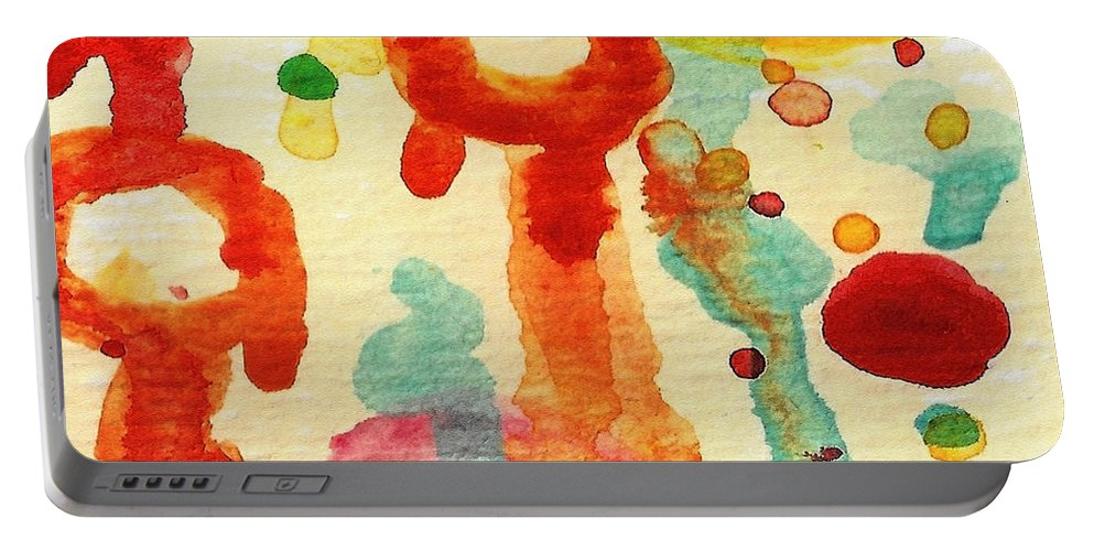 Abstract Portable Battery Charger featuring the painting Encounters 7 by Amy Vangsgard