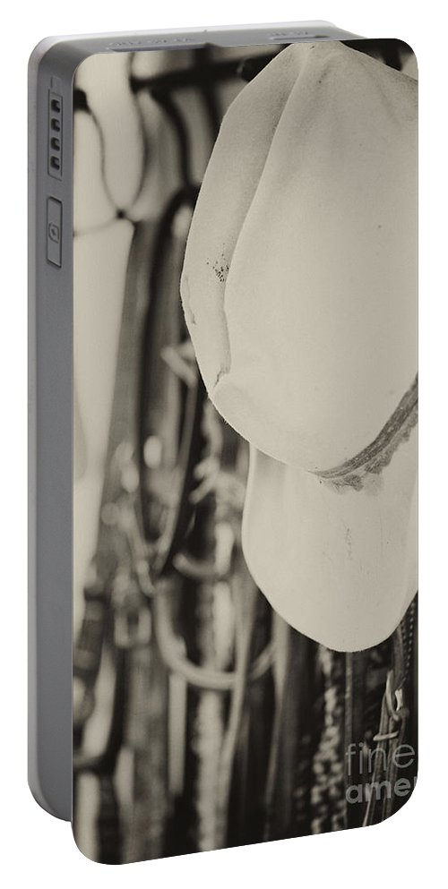 Cowboy Hat Portable Battery Charger featuring the photograph End Of The Day by Erika Weber