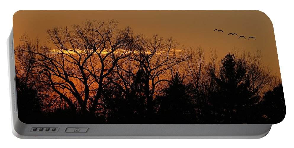 Sunset Portable Battery Charger featuring the photograph End Of The Day by Patti Deters