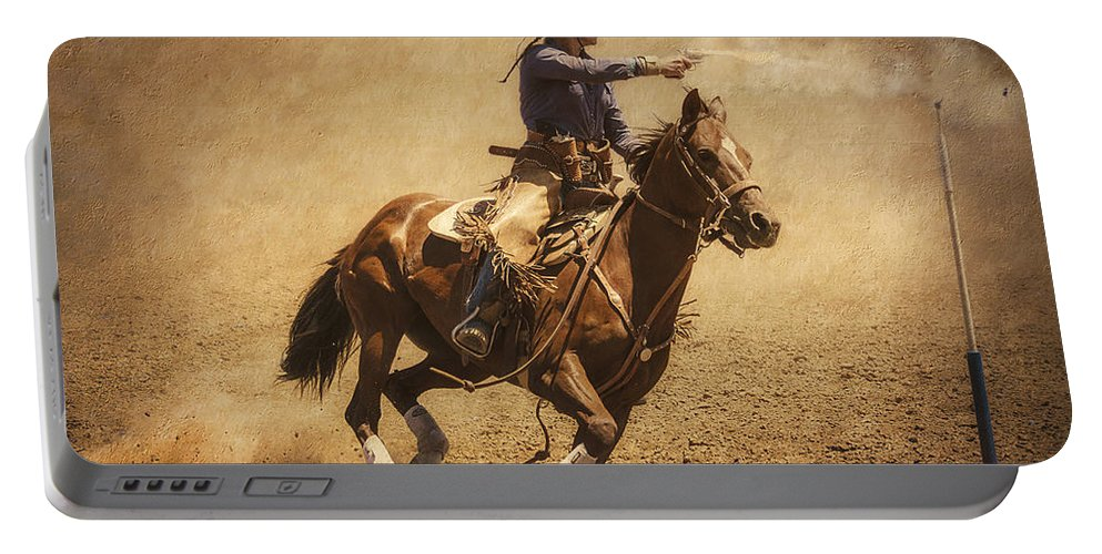 Mounted Shooting Portable Battery Charger featuring the photograph End Of Trail Mounted Shooting by Priscilla Burgers