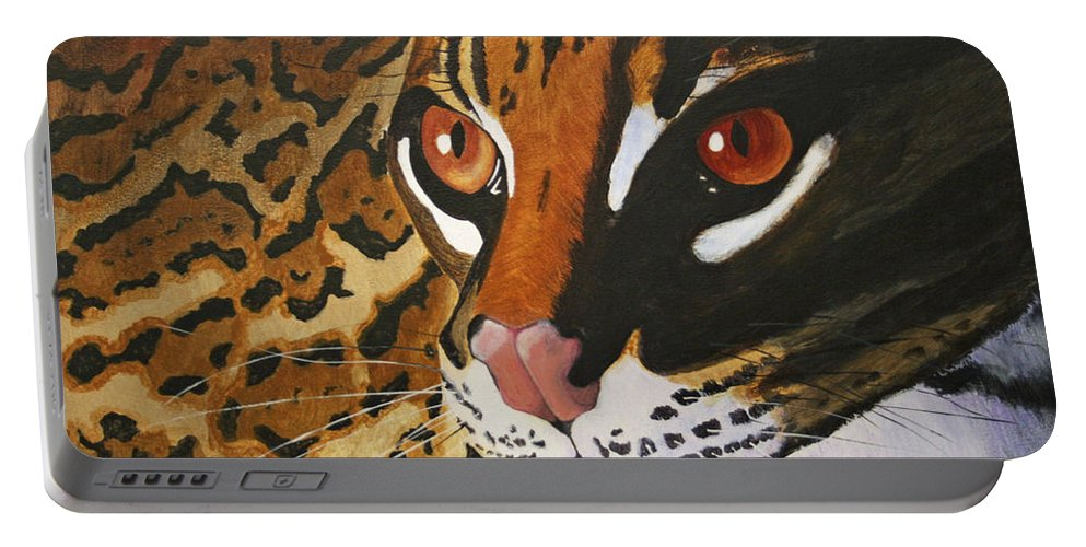 Endangered Portable Battery Charger featuring the painting Endangered - Ocelot by Mike Robles