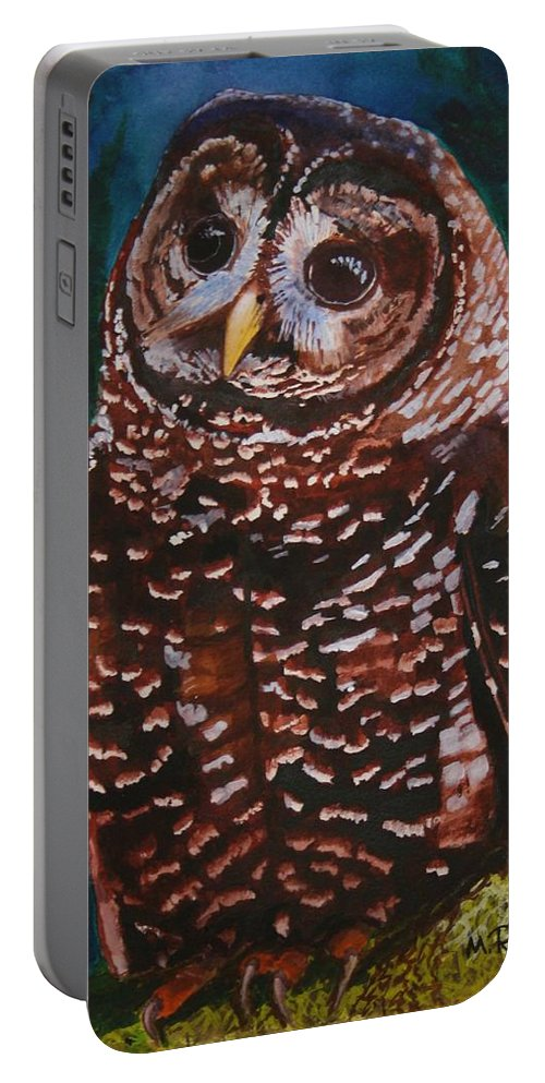 Birds Portable Battery Charger featuring the painting Endangered - Spotted Owl by Mike Robles