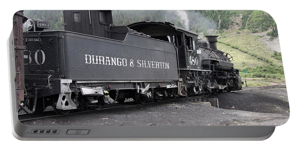 Durango And Silverton Narrow Gauge Railroad Portable Battery Charger featuring the photograph Engine 480 by Christiane Schulze Art And Photography